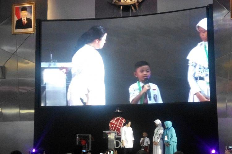 Menteri Koordinator Pembangunan Manusia dan Kebudayaan (PMK) Puan Maharani pada acara Peluncuran Strategi Perlindungan Konsumen Keuangan di Main Hall Bursa Efek Indonesia (BEI), Jakarta, Kamis (18/5/2017).