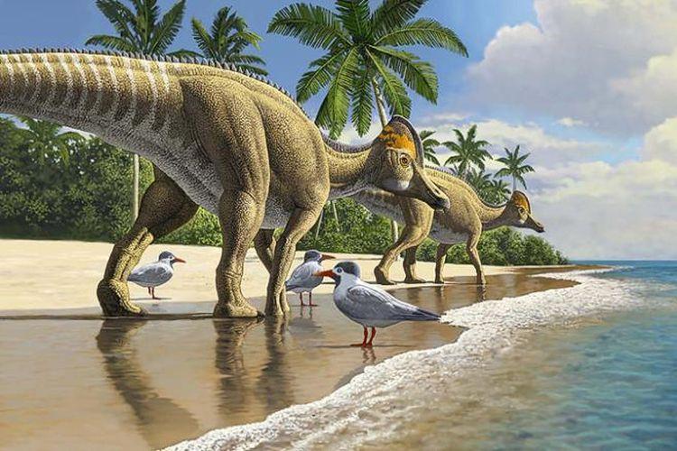 Evolusi Ajnabia odysseus (dinosaurus berparuh bebek) bermula di Amerika Utara, sebelum menyebar ke Asia, Eropa, dan kemudian Afrika.