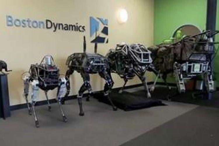 Spot di antara saudara-saudaranya di markas Boston Dynamics di Massachusetts, AS