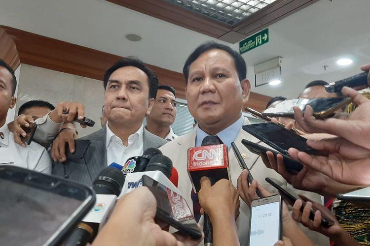 Menhan Prabowo Subianto di DPR, Senayan, Jakarta, Senin (20/1/2020).