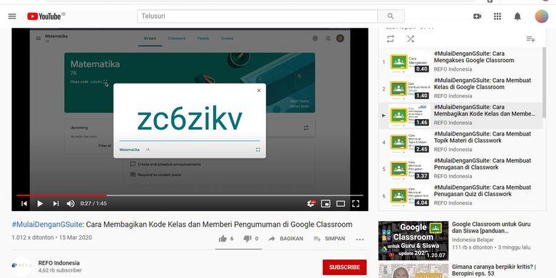 tutorial penggunaan Google Classroom yang ditautkan dari situs teachfromhome.org