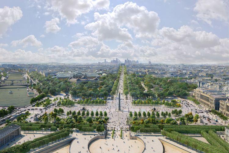 Jalan Champs-Élysées ini akan diubah menjadi taman raksasa yang pekerjaannya dijadwalkan tuntas pada tahun 2030.