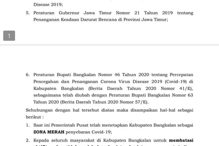 Surat Edaran yang keluarkan Pemkab Bangkalan mengenai Pembatas Kegiatan Masyarakat Pada Masa Pendemi Covid-19, Rabu (16/6/2021)