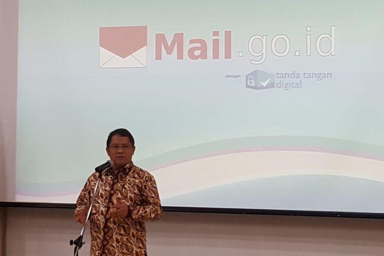 Menteri Komunikasi dan Informatika (Menkominfo), Rudiantara, Rabu (11/12/2017), dalam acara peluncuran e-mail resmi pemerintah mail.go.id, di Gedung Serbaguna Kominfo, Jakarta.