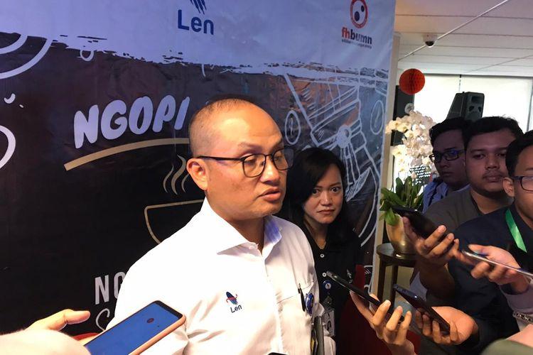 Direktur Utama Len Zaky Jamal Yasin di Kementerian BUMN, Jakarta, Selasa (3/12/2019).