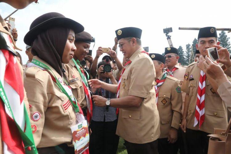 Menag saat membuka Perkemahan Penggalang Ma?arif NU Nasional ke-II (Pergamanas II), di Bumi Perkemahan Cibubur, Jakarta (20/02/2019).