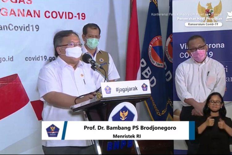 Tangkapan layar live streaming dikanal Youtube, Menristek menyerahkan bantuan hasil riset pada BNPB.