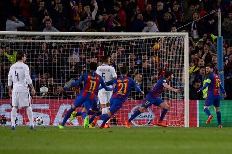 Suasana perayaan gol Sergi Roberto pada lega leg kedua 16 besar Liga Champions 2016-2017 yang mempertemukan Barcelona vs PSG di Stadion Camp Nou, 8 Maret 2017.