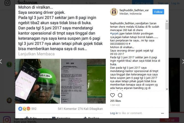 Pengemudi Go-Jek curhat melalui akun Instagram miliknya, @faqihuddin_fadhlan_vandjaitan.