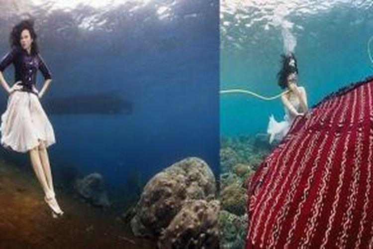 /Model berpose di bawah laut Alor