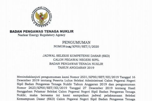 Jadwal dan Lokasi Tes SKD CPNS 2019 di Bapeten Diumumkan, Ini Detailnya