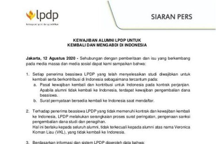 Siaran Pers LPDP menanggapi surat terbuka Veronica Koman.