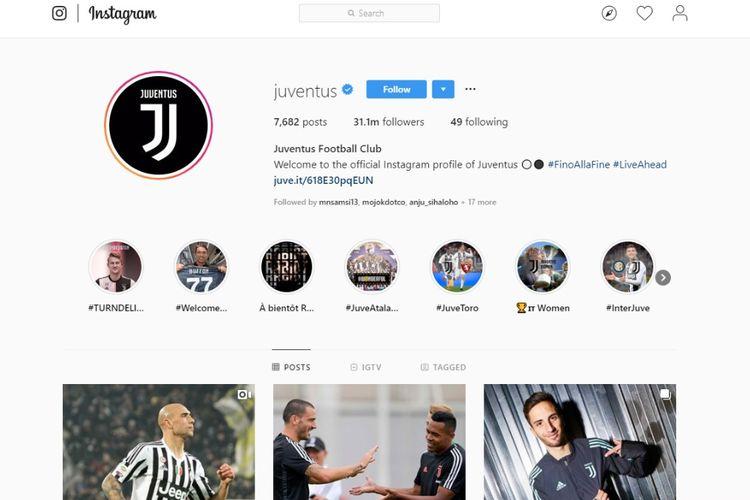 Jumlah pengikut Juventus di Instagram