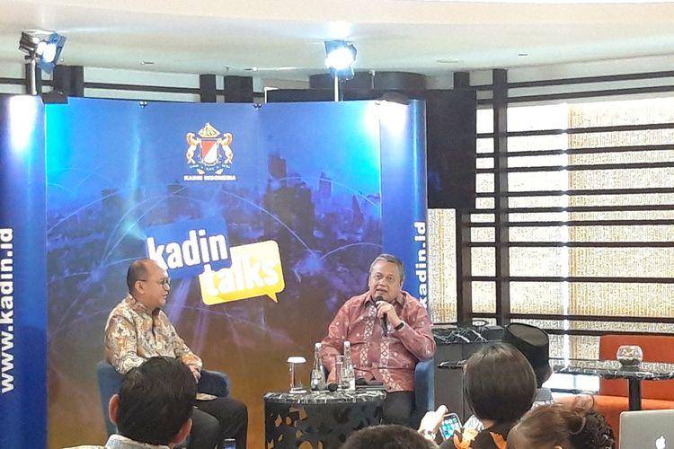 Gubernur Bank Indonesia Perry Warjiyo (kanan) ketika menjadi narasumber di Kadin Talks, Senin (26/8/2019).