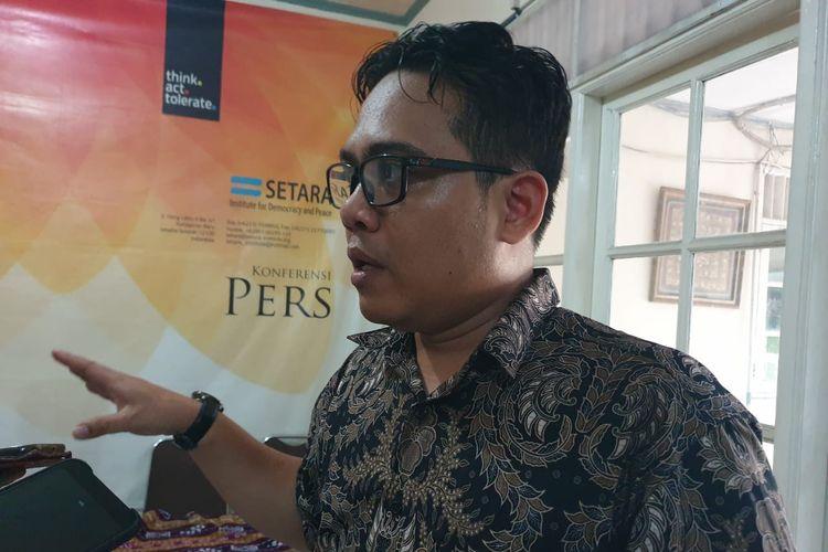 Wahyudi Djafar, Deputi Direktur Lembaga Studi dan Advokasi Masyarakat (ELSAM) saat ditemui awak media dalam jumpa pers terkait RUU KKS di Jakarta, Jumat (27/9/2019).