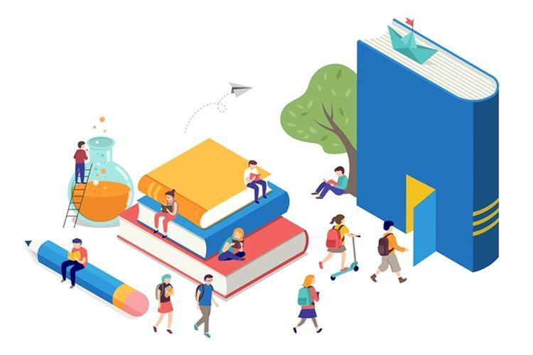 Ilustrasi mahasiswa, kampus, universitas, perguruan tinggi