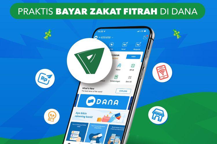 Fitur membayar zakat fitrah lewat aplikasi DANA.