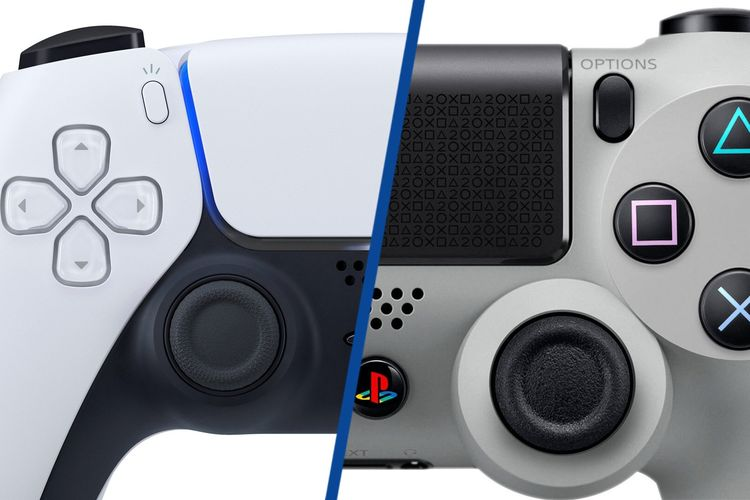 Ilustrasi controller Dual Sense PS4 dan Dual Shock PS4.