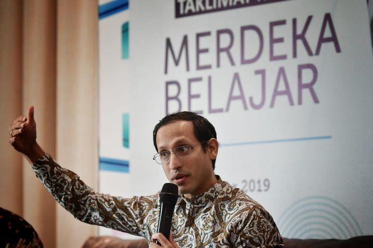 Mendikbud Nadim Makarim menjelaskan arah kebijakan pendidikan Merdeka Belajar dalam Rapat Koordinasi Mendikbud dengan Kepala Dinas Pendidikan se-Indonesia di Jakarta, Rabu (11/12/2019).