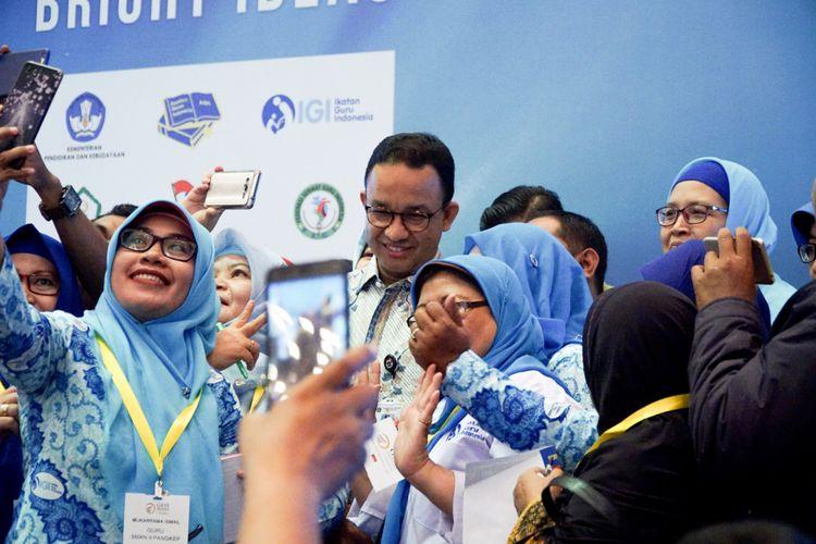 Anies Baswedan, Gubernur DKI Jakarta pada pembukaan rapat koordinasi nasional Ikatan Guru Indonesia (IGI) dalam ajang GESS 2018 yang berlangsung di Jakarta Convention Center (JCC), 26-28 September 2018.