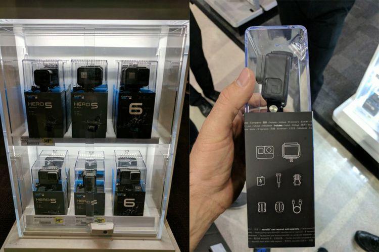 GoPro Hero 6 ditemukan di toko Best Buy di Kanada, dipajang berdampingan dengan Hero 5.
