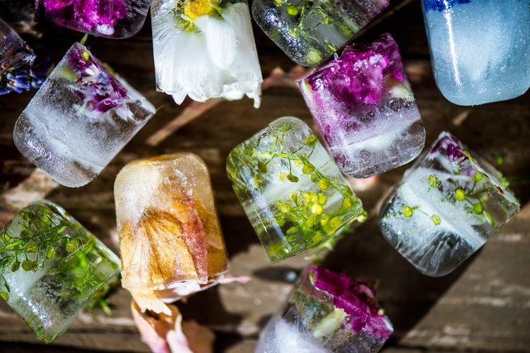 Ilustrasi edible flowers dibekukan jadi es batu
