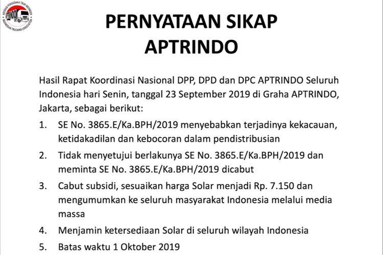 Pernyataan sikap Aptrindo terhadap surat edaran BPH Migas.