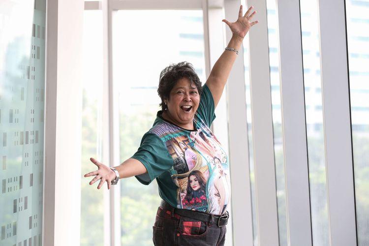Aktris Suti Karno pemeran Atun saat promo film Si Doel The Movie 2 di Kantor Redaksi Kompas.com, Menara Kompas, Palmerah, Jakarta, Selasa (14/5/2019).
