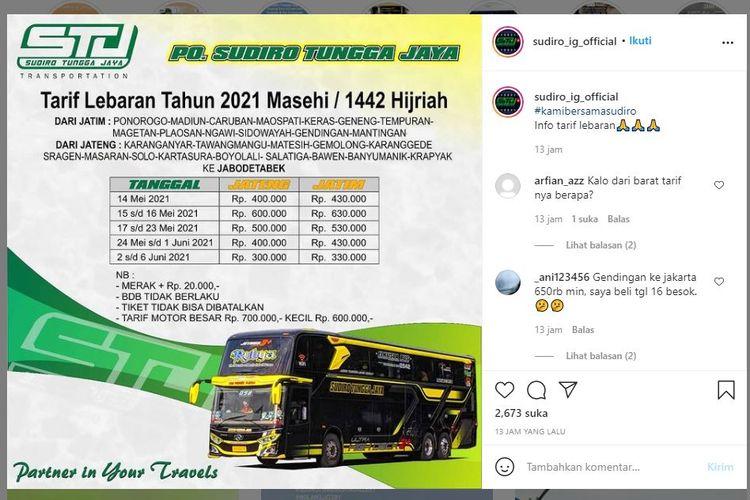 Tarif Lebaran Sudiro Tungga Jaya