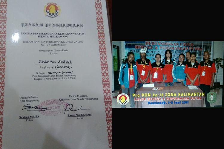 Piagam penghargaan yang diterima Dadang dan fotonya ketika ajang PON ke-18 Zona Kalimantan.