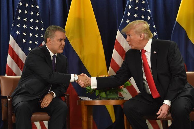 Presiden AS Donald Trump (kanan) saat bertemu dengan Presiden Kolombia Ivan Duque di sela pertemuan PBB di New York, 25 September 2018 lalu.