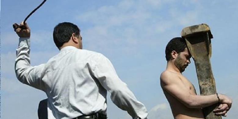 Ilustrasi hukuman cambuk.