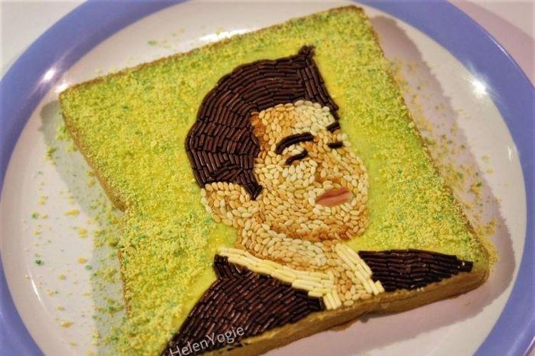 Salah satu hiasan roti meses karya Helen Yogie yang mendapat banyak pujian di media sosial.