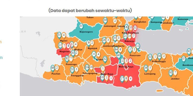 Update Peta Sebaran Covid 19 Di Jatim 51 Orang Positif Corona Surabaya Terbanyak Halaman All Kompas Com
