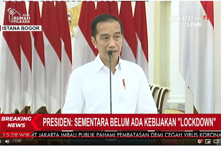 Tangkapan layar Kompas TV konferensi pers Presiden Joko Widodo di Istana Bogor (16/3/2020) terkait koordinasi pemerintah pusat dan daerah dalam penanganan wabah corona.
