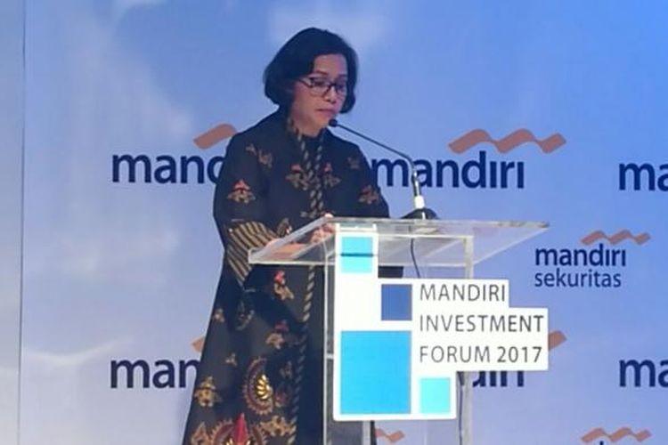 Menteri Keuangan Sri Mulyani di acara Mandiri Invesment Forum, Jakarta, Rabu (8/2/2017)