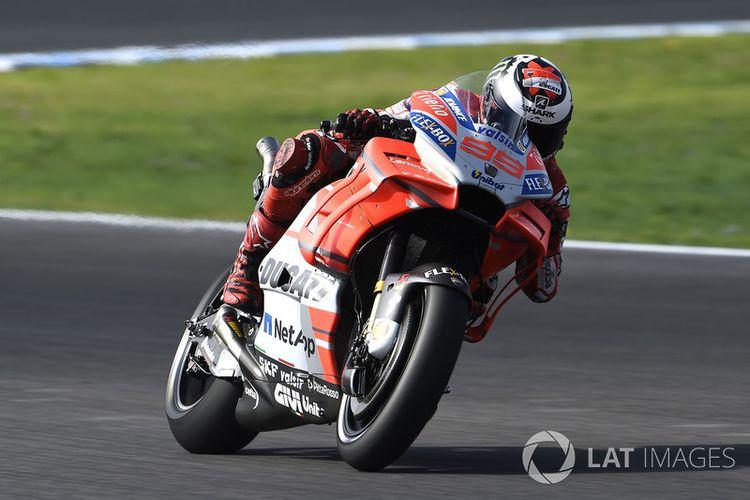 Jorge Lorenzo pada sesi latihan bebas hari pertama di Jerez 2018.
