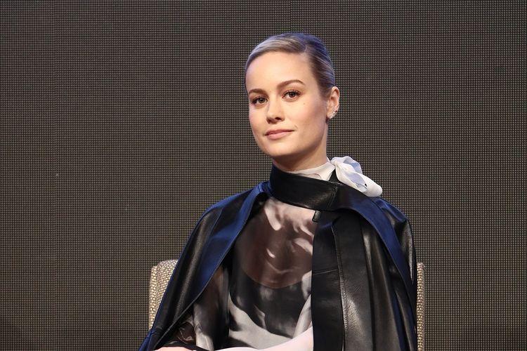 Brie Larson menghadiri press conference untuk film produksi Marvel Studios, Avengers: Endgame, di seoul, Korea Selatan, pada 15 April 2019.