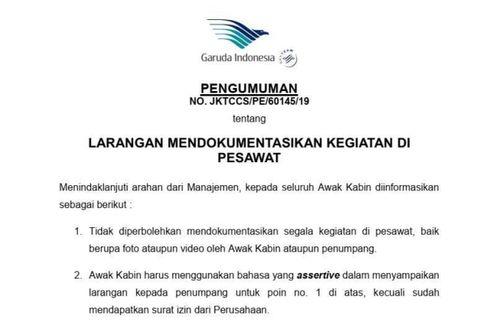 Soal Imbauan Penumpang Tak Ambil Foto dan Video, Garuda Sebut Permintaan Pelanggan