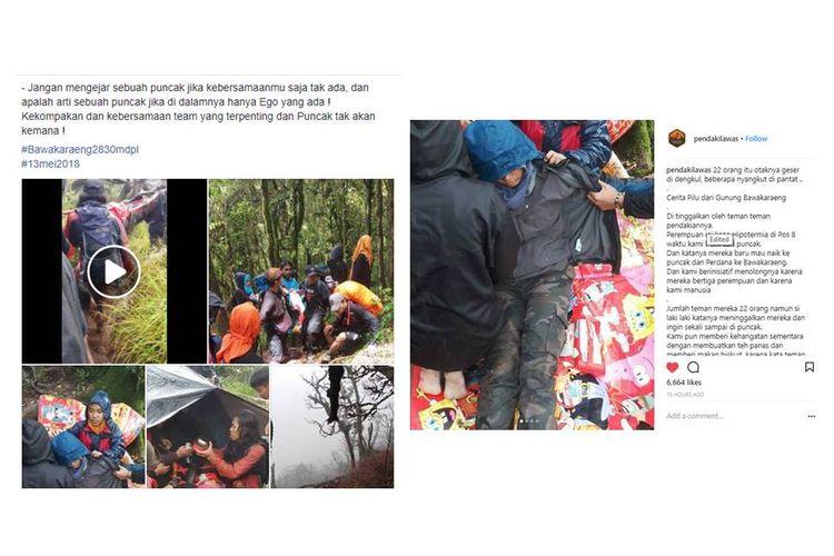 Kisah seorang pendaki yang mengalami hipotermia setelah ditinggal teman-temannya yang mengejar puncak viral di media sosial.