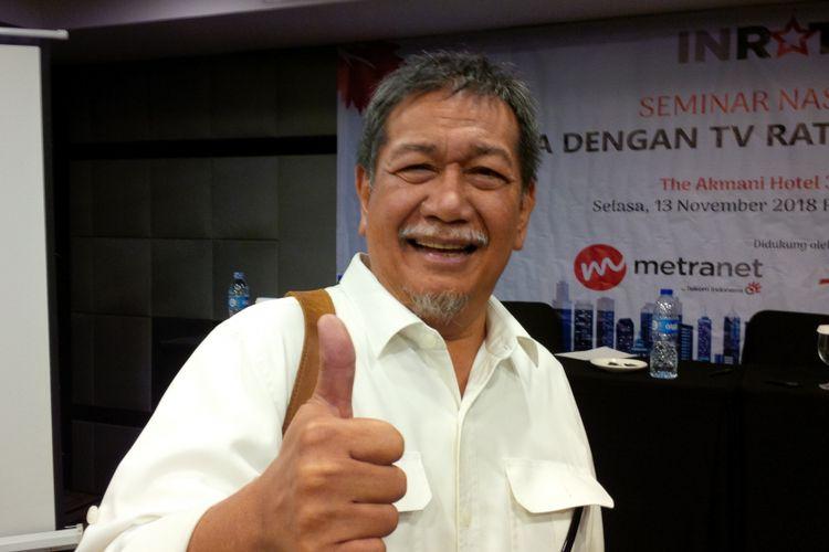 Deddy Mizwar menghadiri acara Seminar Nasional dengan tema Ada Apa dengan TV Rating Indonesia bersama Inrate di The Akmani Hotel, Gondangdia, Jakarta Pusat, Selasa (13/11/2018).