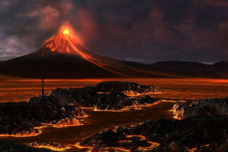 Ilustrasi gunung berapi