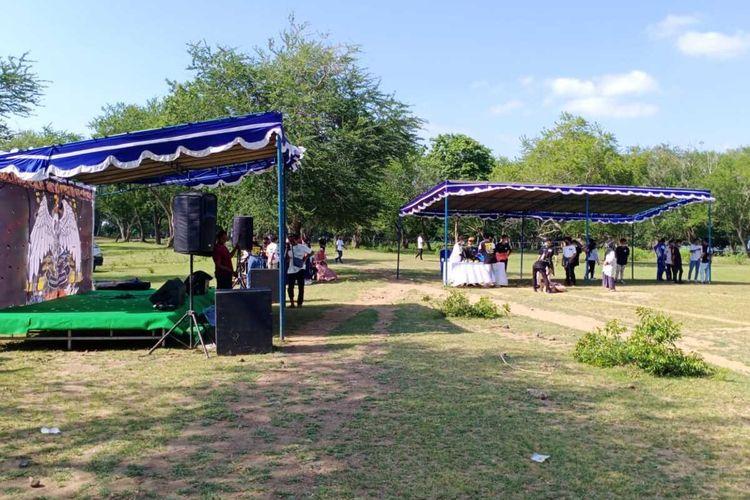 suasana pembubaran club motor di Bendungan Pengge, Lombok Tengah