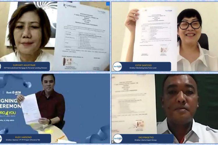 PT Bank Tabungan Negara (Persero) Tbk atau BTN menggandeng PT PP Properti (Persreo) Tbk, Duta Putra Land dan Expert Group untuk pembiayaan KPR/KPA.