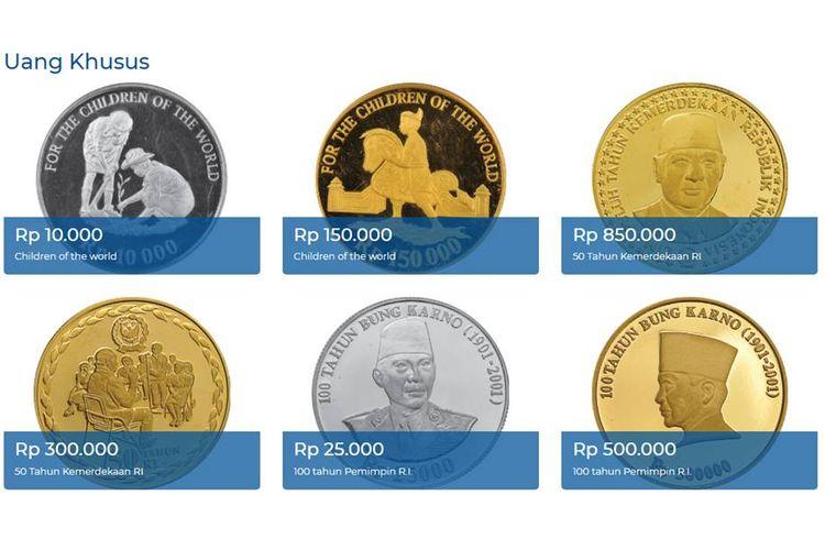 Tangkapan layar laman Bank Indonesia tentang Uang Rupiah Khusus, uang logam dari emas dan perak
