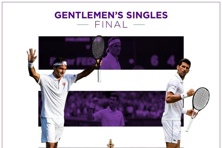 Roger Federer dan Novak Djokovic akan berhadapan pada final tunggal putra Wimbledon 2019, 14 Juli 2019.