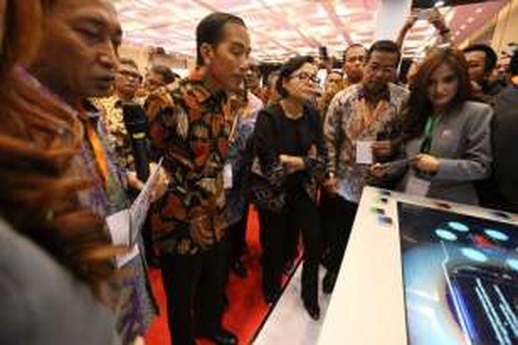 Presiden Joko Widodo saat menghadiri Indonesia Fintech Festival and Conference di ICE, Serpong, Tangerang, Selasa (30/8/2016).