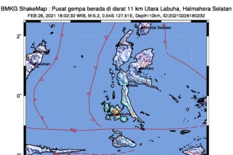 Gempa Halmahera Selatan di Maluku, Jumat 26 Februari 2021. Gempa tektonik di Pulau Bacan ini berkekuatan M 5,2, termasuk gempa dangkal dan merusak.