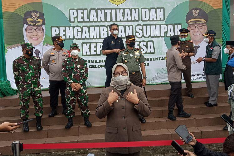 Bupati Bogor Ade Yasin usai pelantikan kepala desa di Lapangan Tegar Beriman, Cibinong, Kabupaten Bogor, Jawa Barat, Jumat (5/2/2021).