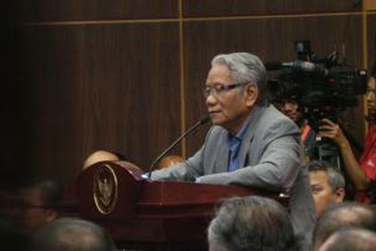 Harjono saat menjadi saksi ahli yang dihadirkan KPU dalam sidang sengketa hasil Pilpres 2014, di Mahkamah Konstitusi, Jakarta (15/8/2014).